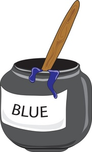 Blue Clipart Image - Bottle of blue paint with a paintbrush