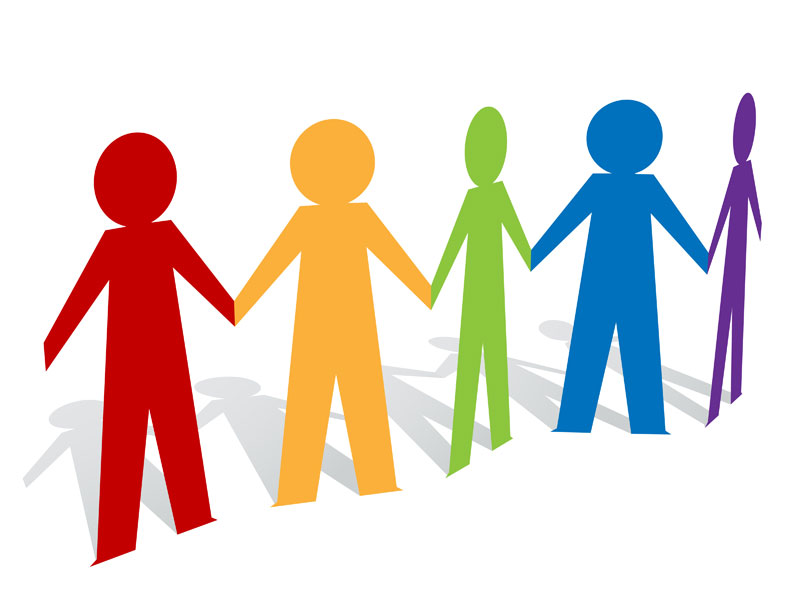 5 people holding hands clipart