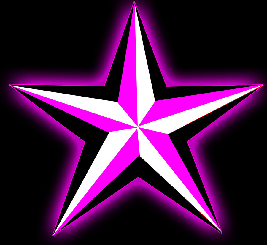 Nautical star pink glow by ScribblingTend
