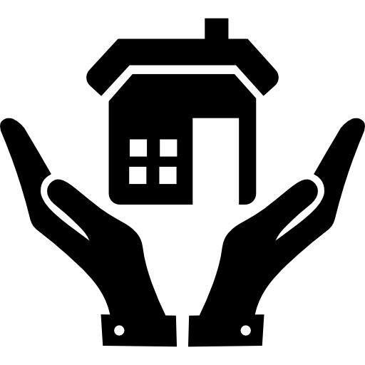 Open hands and a home - Free buildings icons