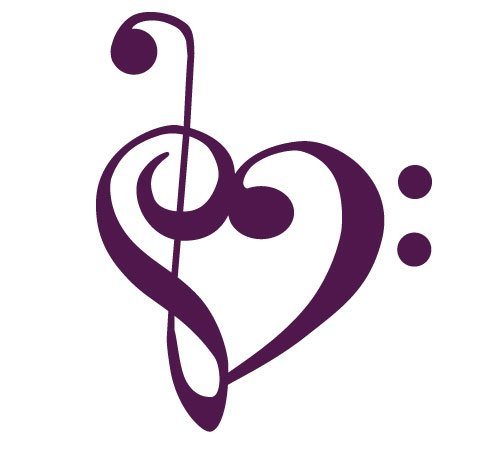 Treble Clef and Bass Clef Heart