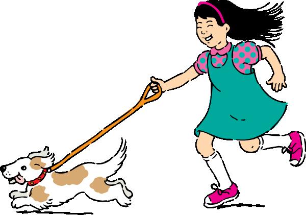 clipart girl walking dog - photo #23
