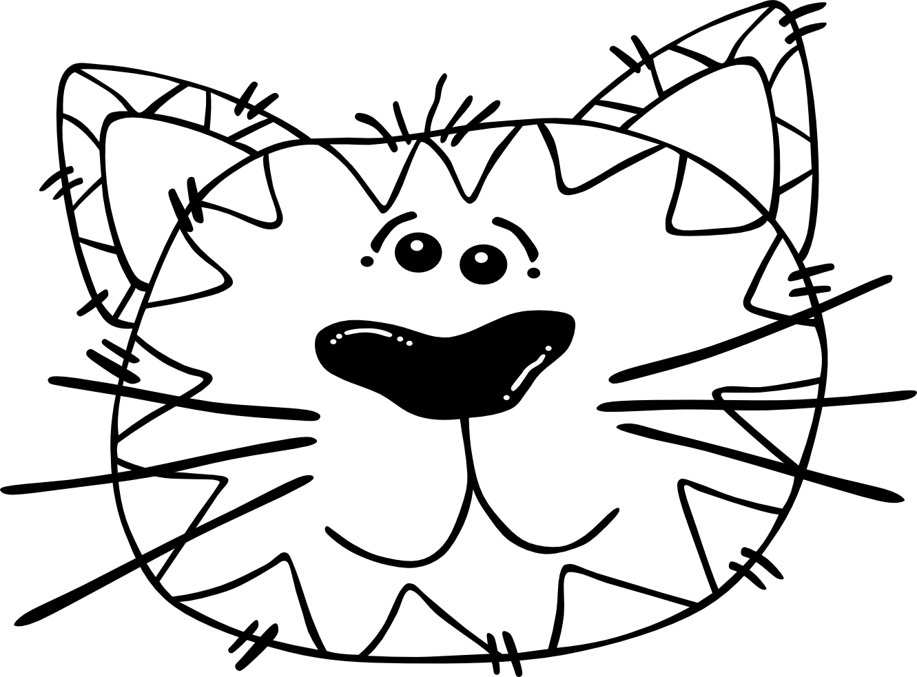 Line Drawing Animal Face : Cat face coloring page clipart best