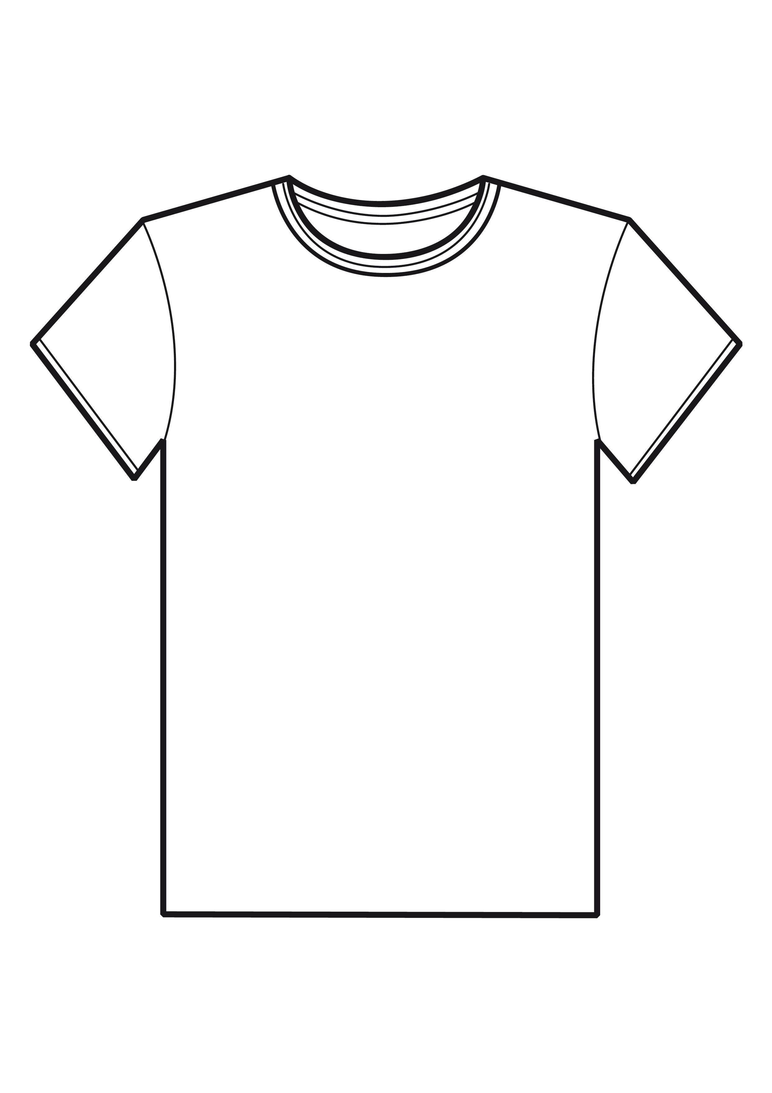 Blank T Shirt Template For Colouring Clipart Best