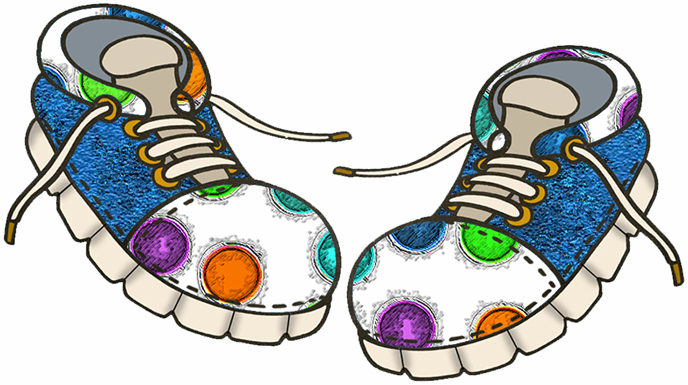 FASHION SHOES - Set A22 - Colorful Dots with Blue - A collection of