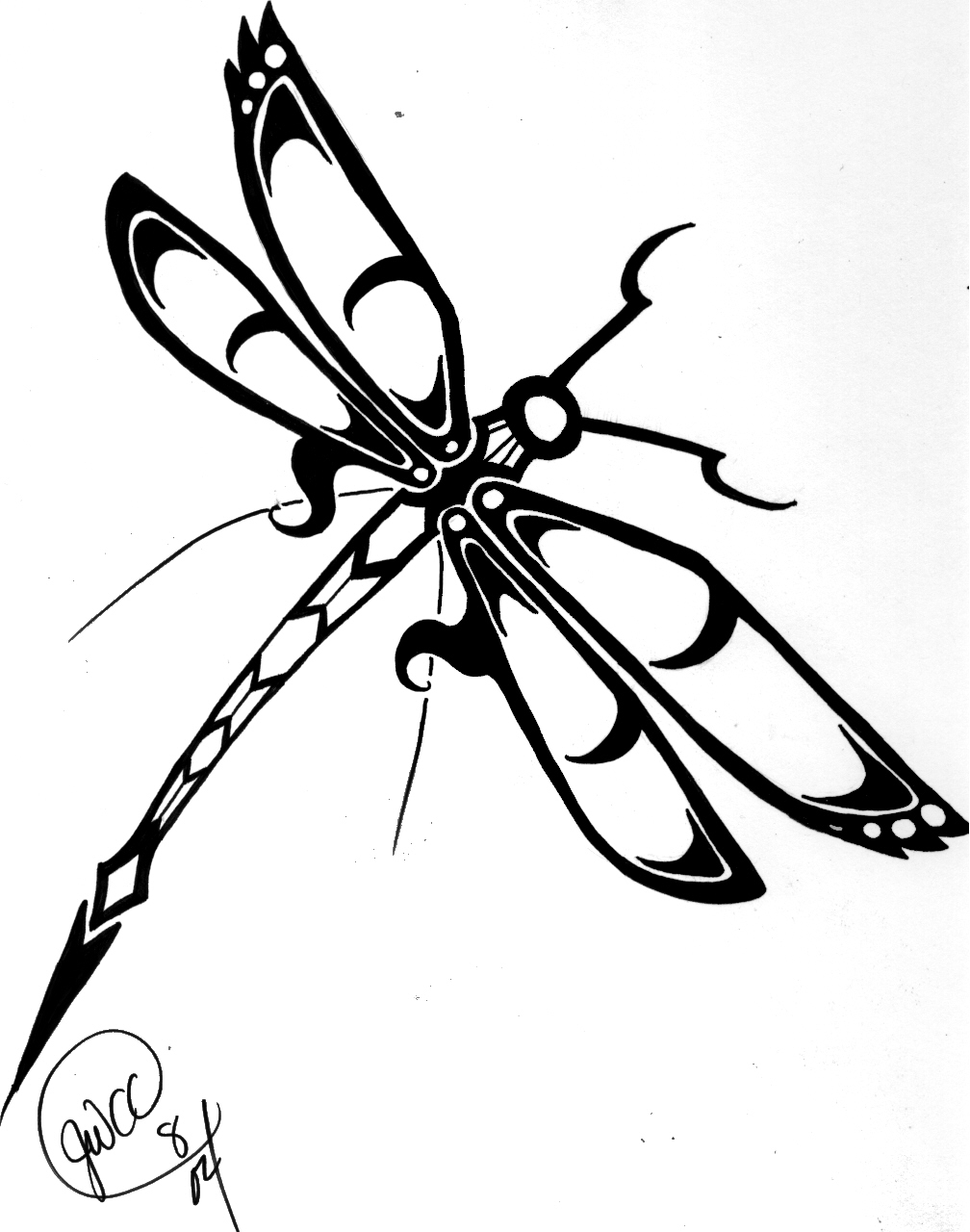 Free Printable Dragonfly Stencil  BLACK and WHITE