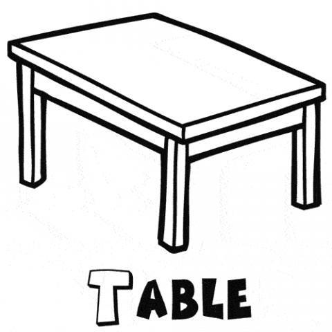 Dibujo de una mesa del colegio para colorear clipart - Mesas para dibujar ...