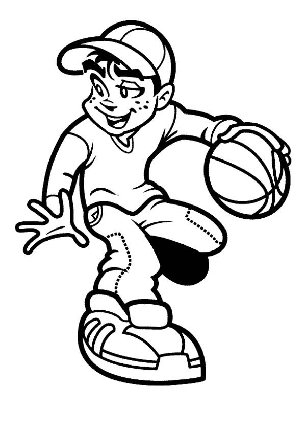 children playing basketball clipart black and white