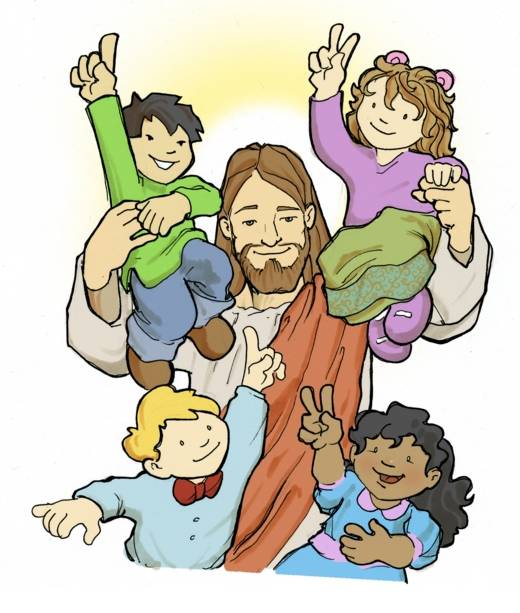 Cartoon Jesus with Kids