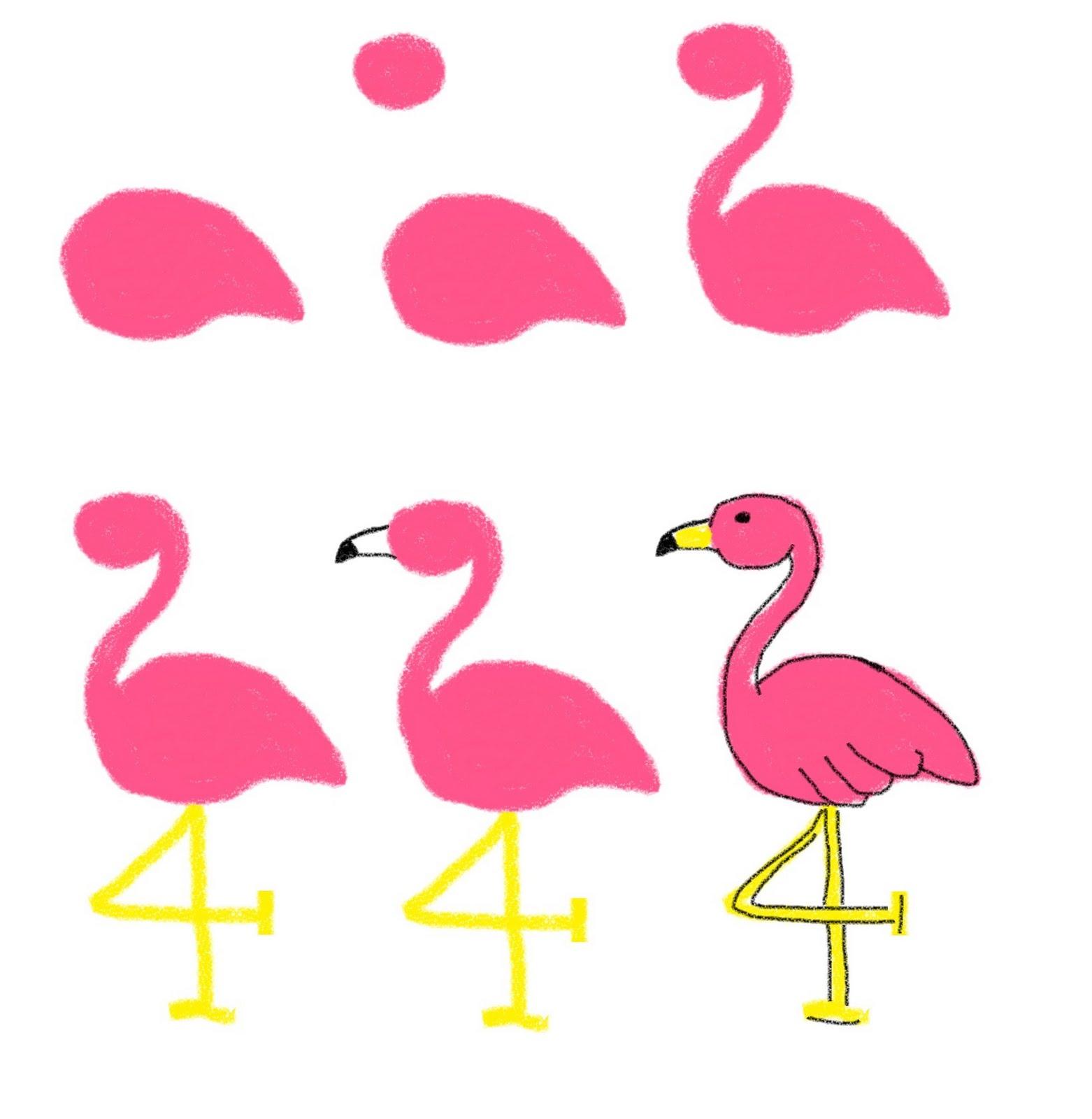 Фламинго рисовать детям