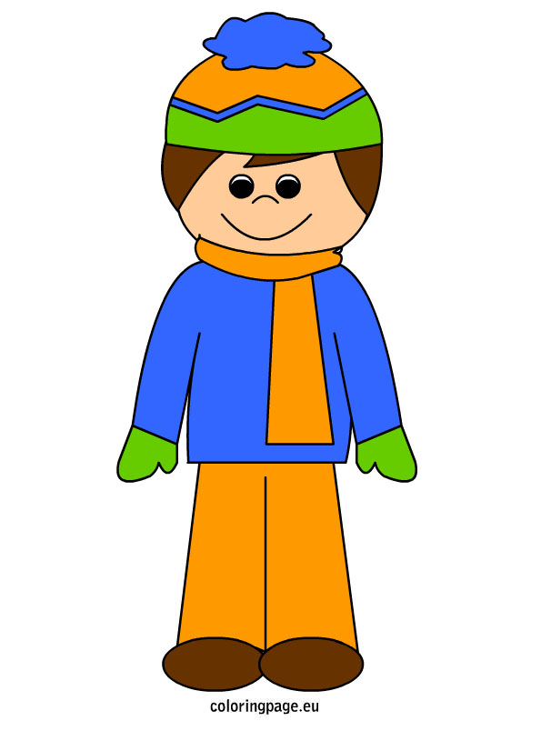 Boy in winter clothes   Coloring Page - ClipArt Best