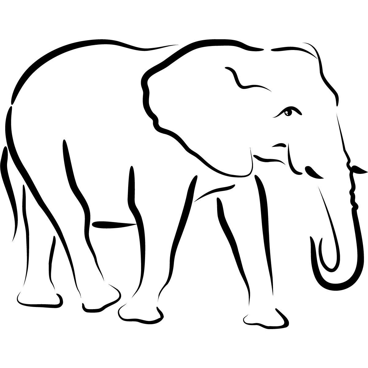 Elephant Line Drawing - ClipArt Best