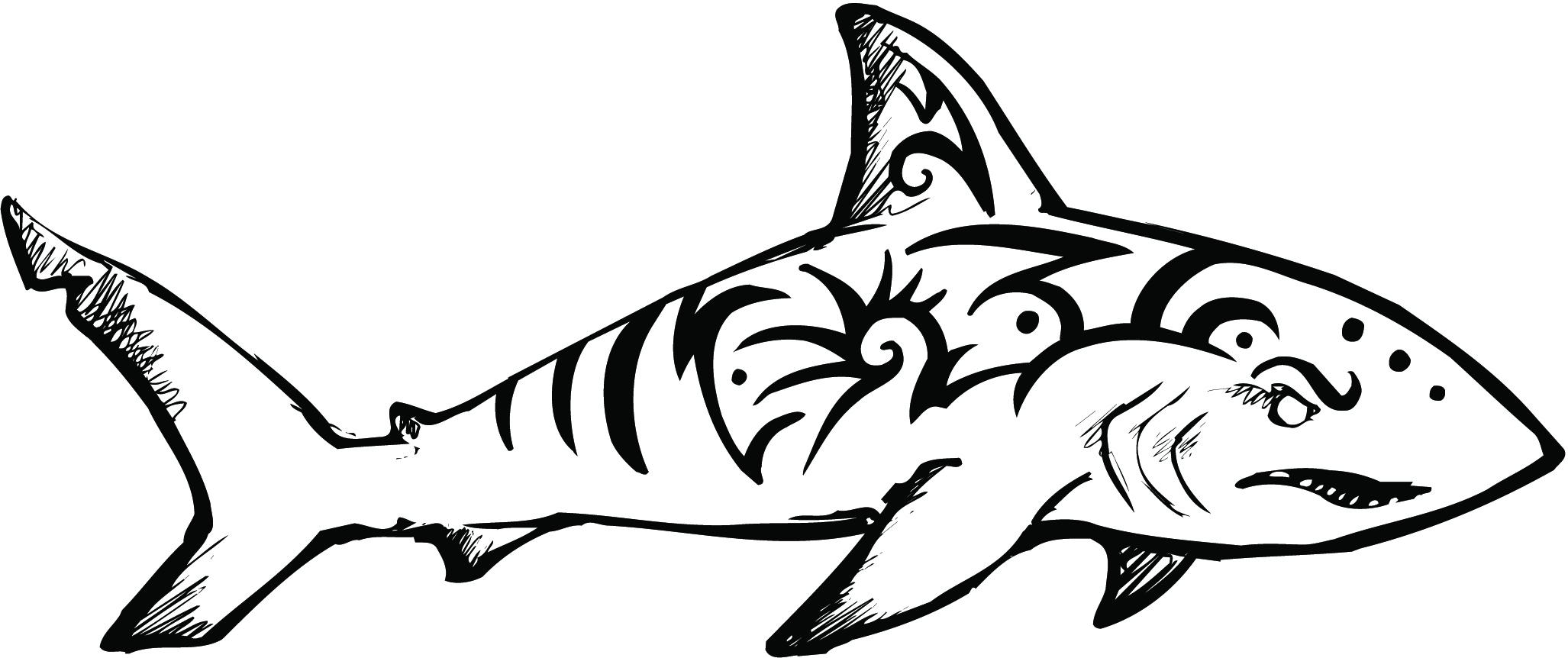 Line Art Shark : Shark line drawing clipart best