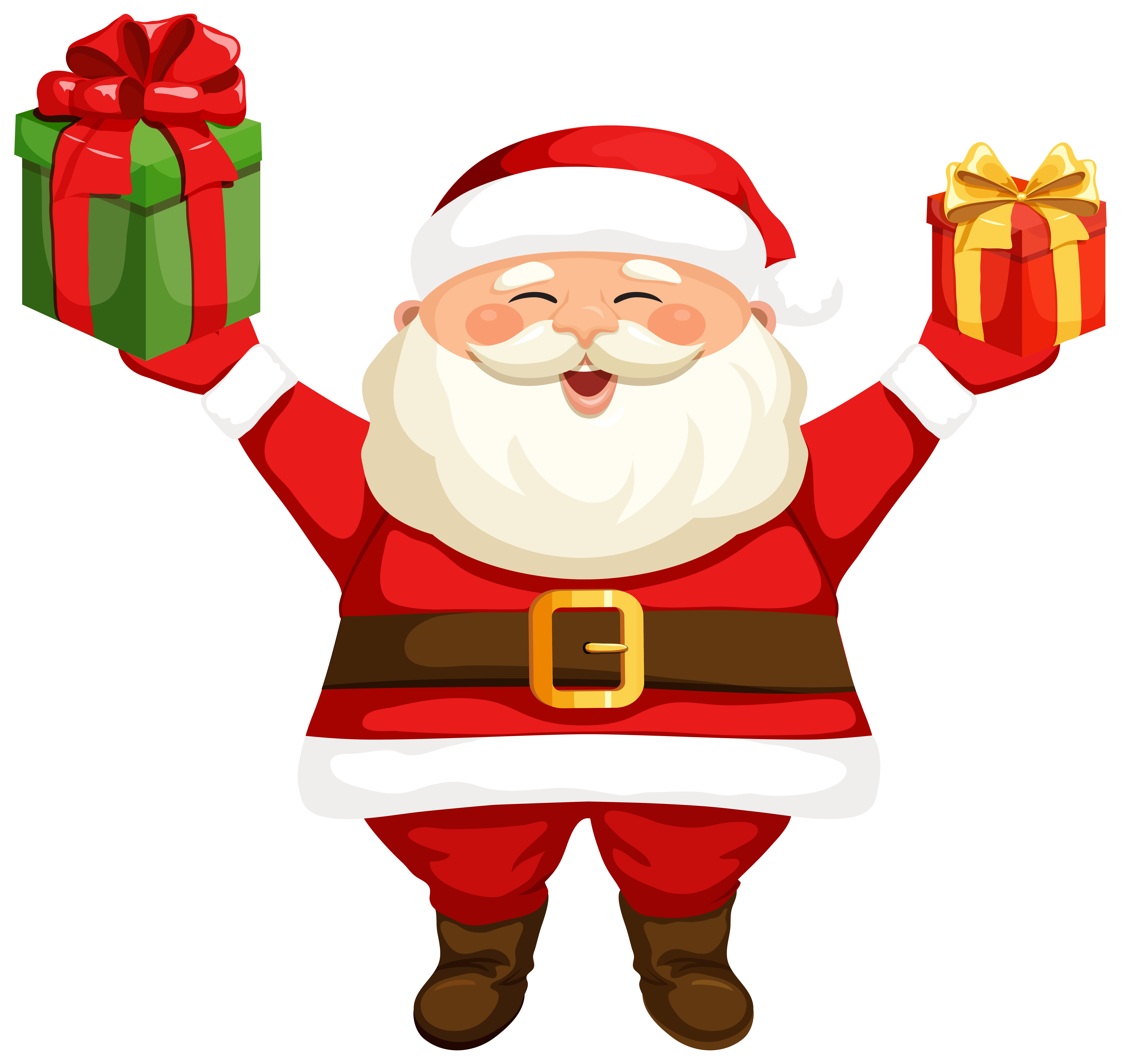 Santa Claus with Gifts PNG Clipart Image