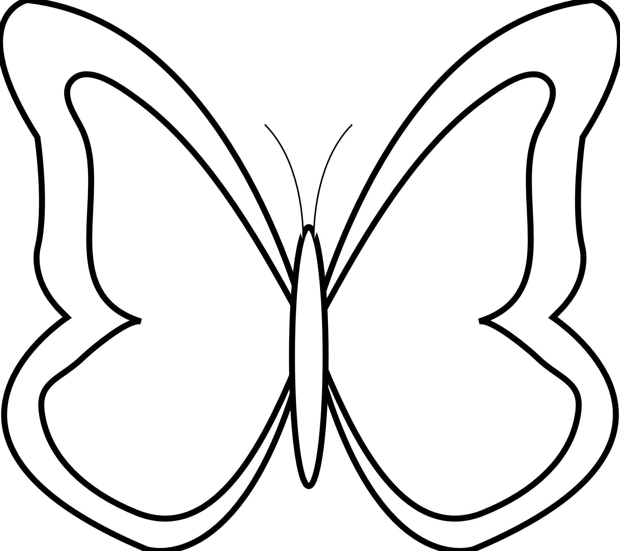 Line Art Vector Design Png : Butterfly clipart black and white best