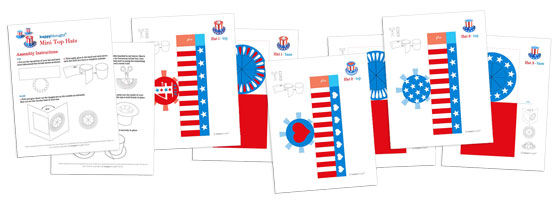 US flag mini paper top hats - July 4th crafts - Free templates