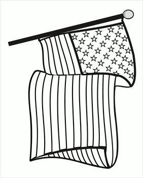Free black and white flag day clipart