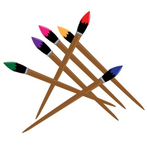 Paintbrushes Clipart Image - Artist Paintbrushes