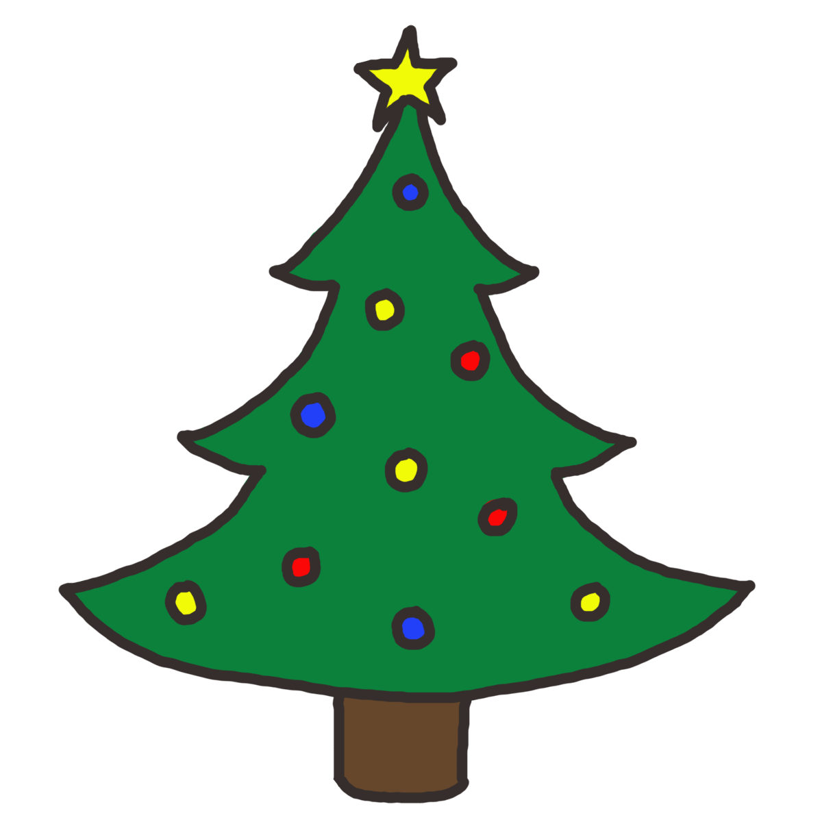 Simple Christmas Tree Outline - ClipArt Best