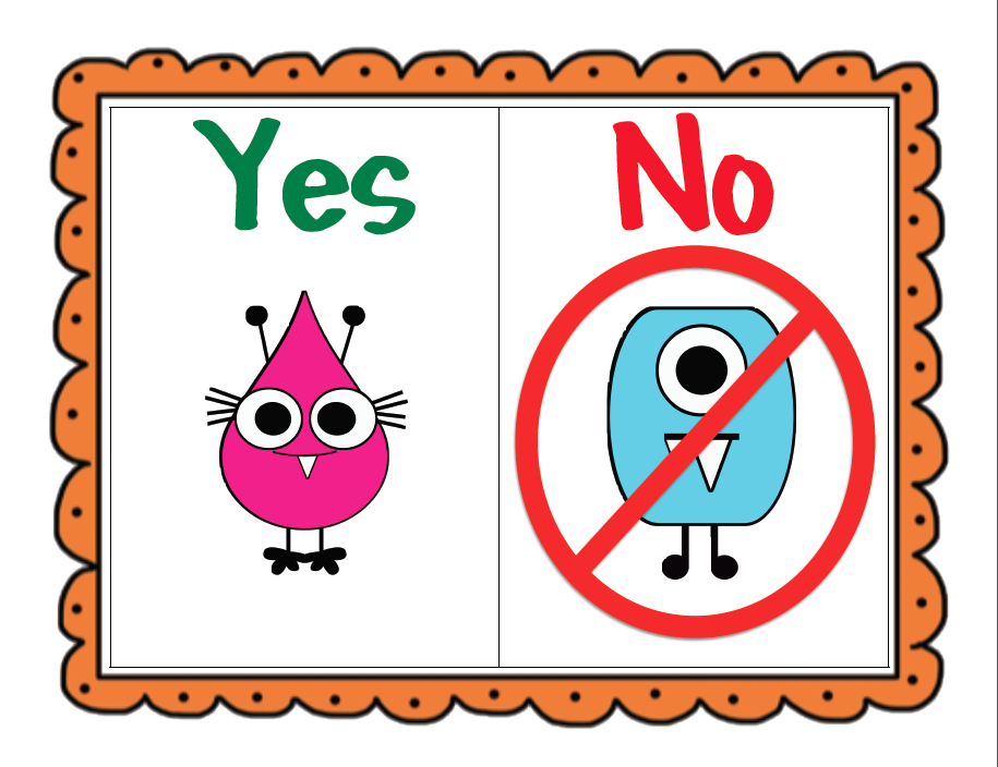 The yes/no cards can also be cut apart and the student holds up the correct answer, or the cards can be glued to popsicle sticks.