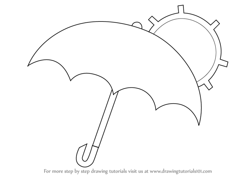Learn How to Draw an Umbrella with Sun (Everyday Objects) Step by ...
