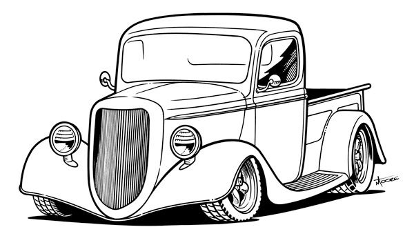 Classic Muscle Car Outline - ClipArt Best