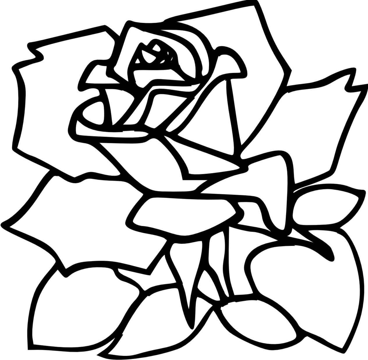 Line Art Rose Tattoo : Rose line drawings clipart best