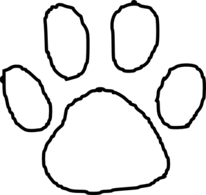 Tiger Paw Print Outline clip art - vector clip art online, royalty ...