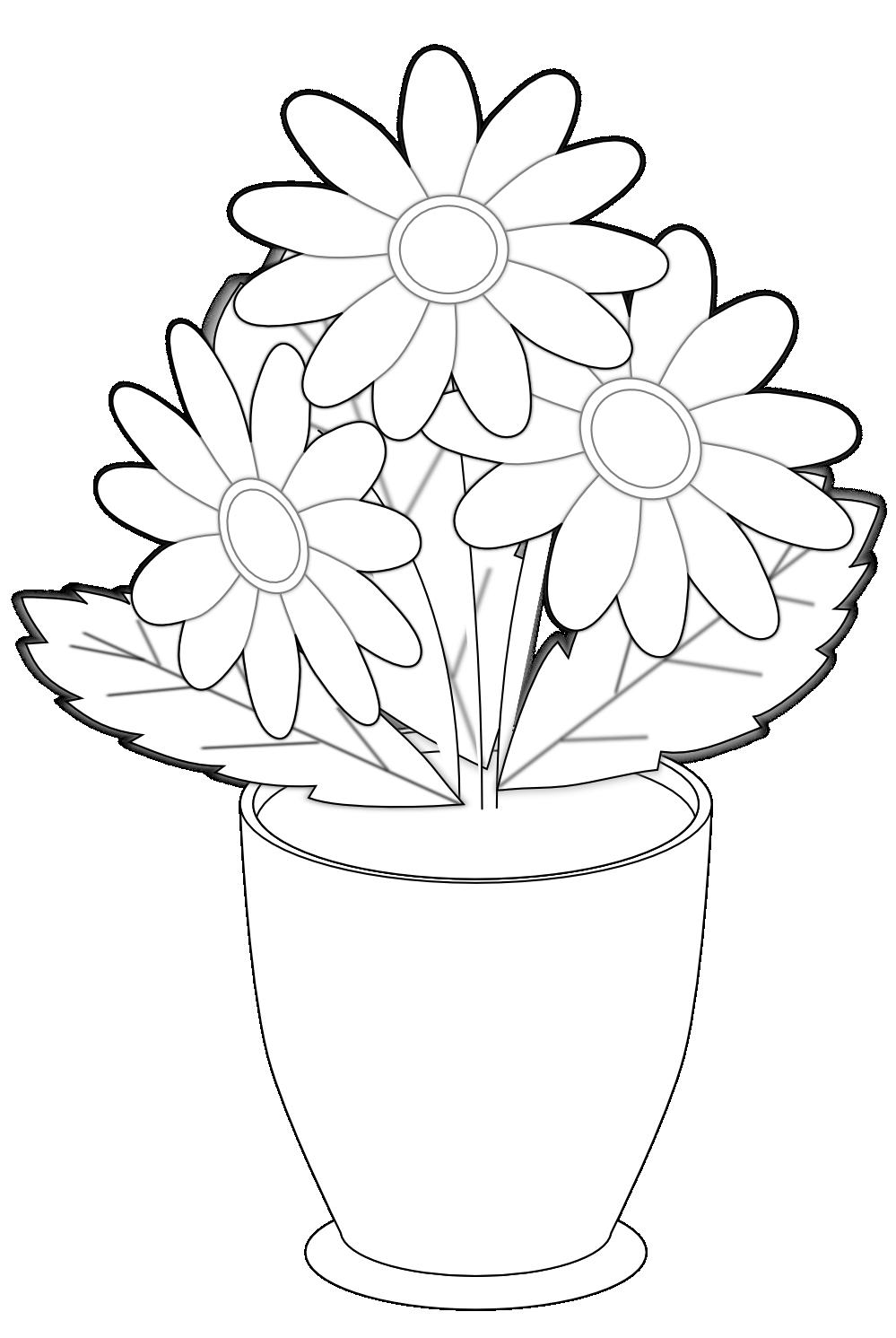Daisy s Vase Black White Flower Shrub xochi.info SVG xochi ...