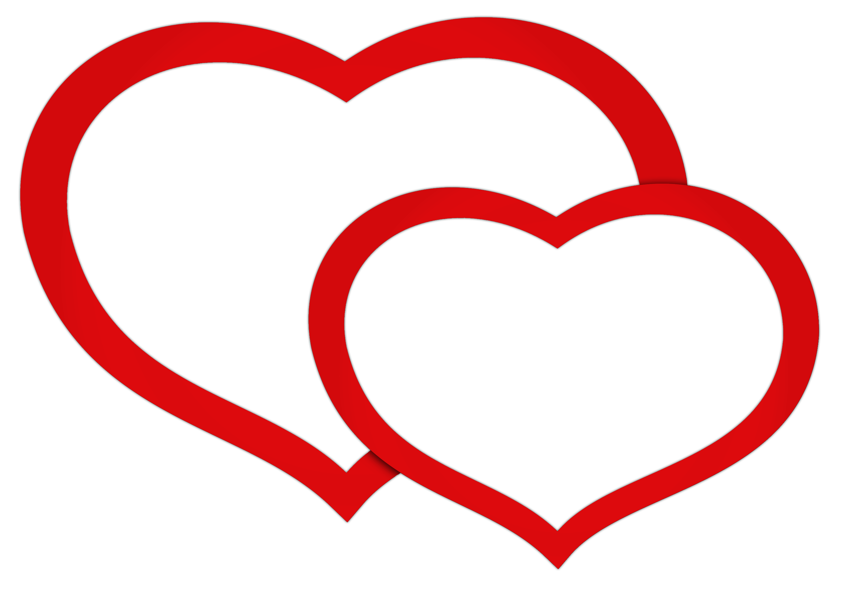Transparent Red Double Hearts PNG Clipart Picture