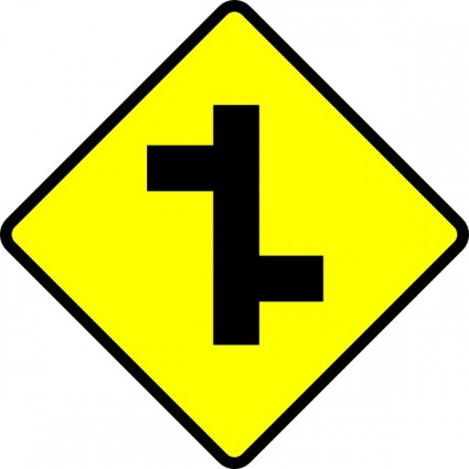 Caution t junction road sign clip art Free vector for free ...