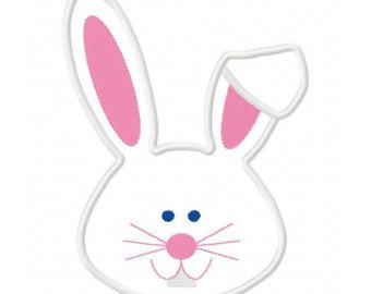 Rabbit Ears Silhouette Bunny Face - ClipArt B...