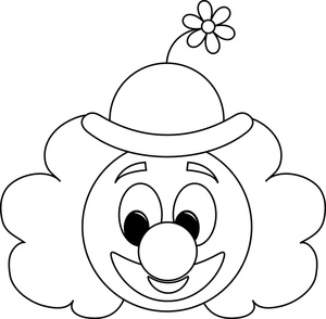 Clown Clipart Image - Clown Face Coloring Page