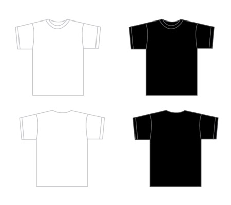 Black t shirt template front and back psd clipart best for T shirt design template illustrator