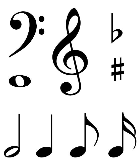 Selective image with printable music notes symbols