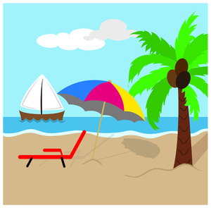 ... Island Scene with Coconut Palm Tree ... - ClipArt Best - ClipArt Best