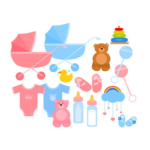 Baby Clipart - Stroller, Baby Carriage, Booties, Baby Bottle ...