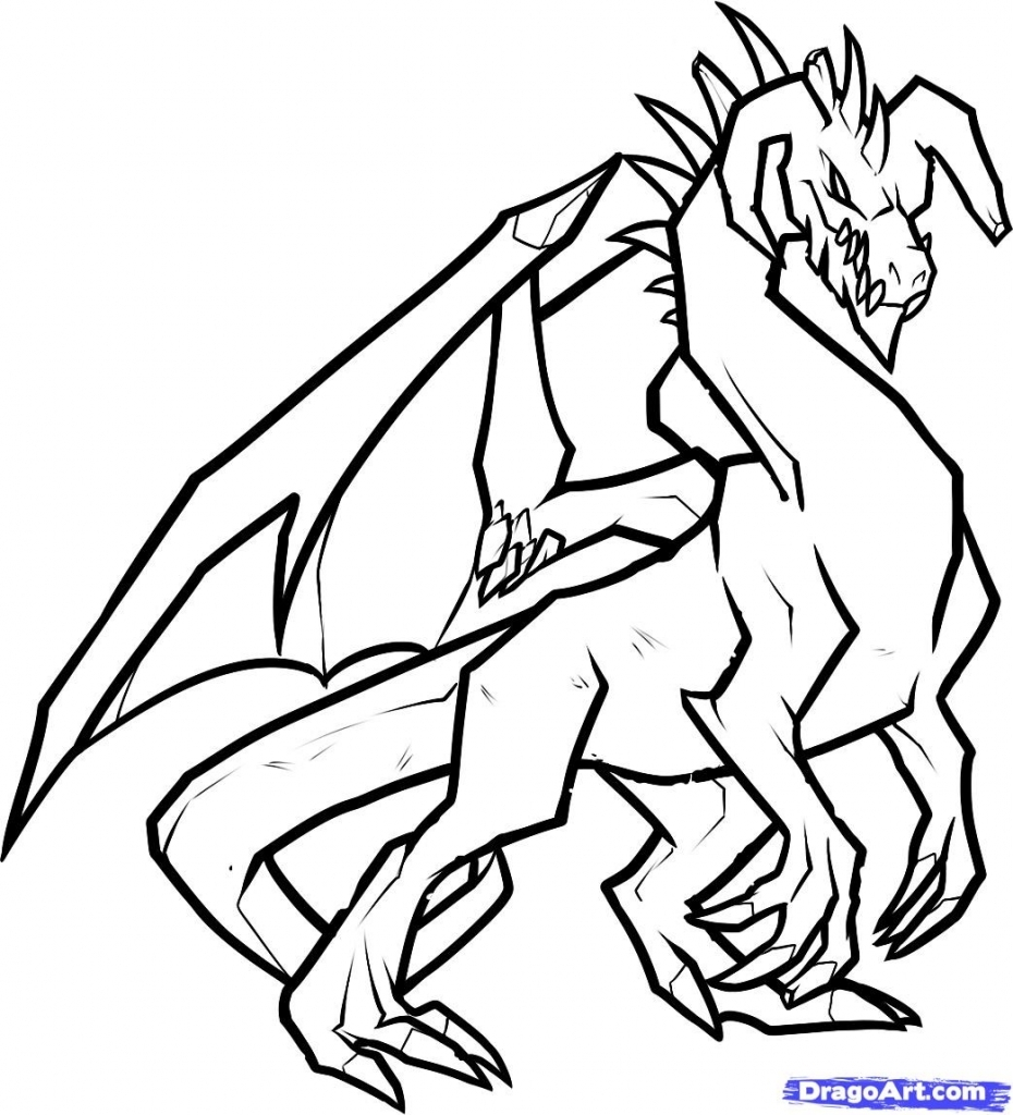 Dragon Line Drawing Easy : Drawings dragons clipart best