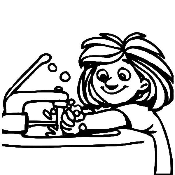 washing hands coloring page - wash your hands coloring image clipart best