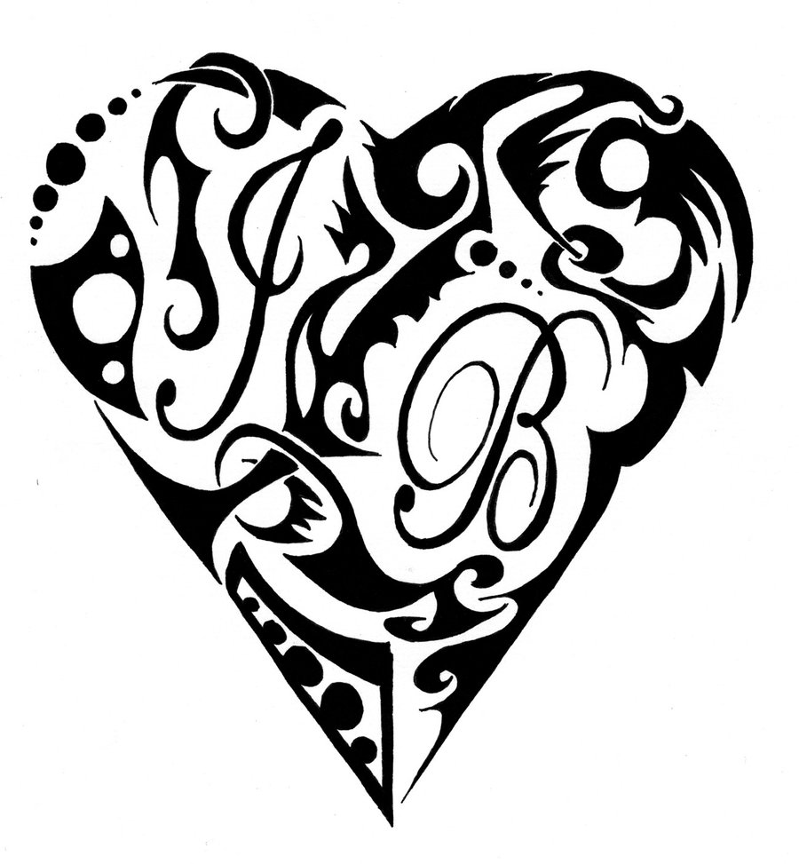 Lineart Wolf Tattoo : Tribal wolf and heart clipart best