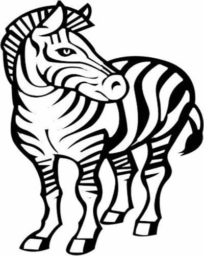 zebra outline drawing - photo #31