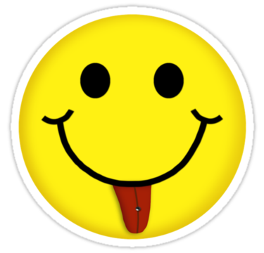 "Smiley Face With Pierced Tongue V-Neck T-Shirt"" Stickers by Linda ..."