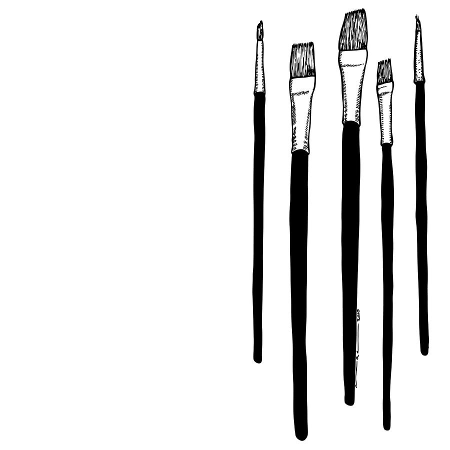 Paint Brushes Drawing by Karl Addison - Paint Brushes Fine Art ...
