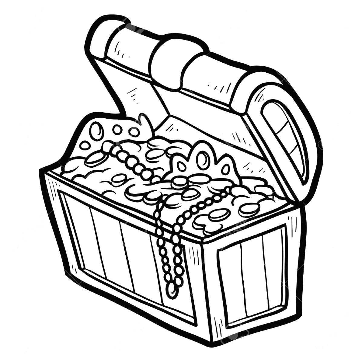 Treasure chest clipart black and white clipart best for Treasure coloring pages
