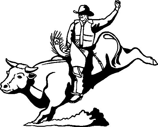 Cowboy Riding A Bull Coloring Pages - Coloring Pages