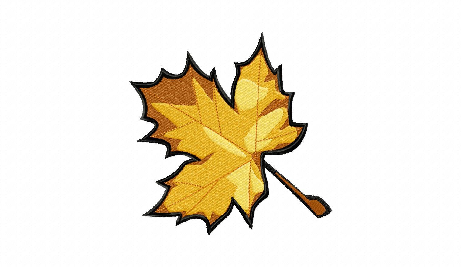 Fall maple leaf machine embroidery design free