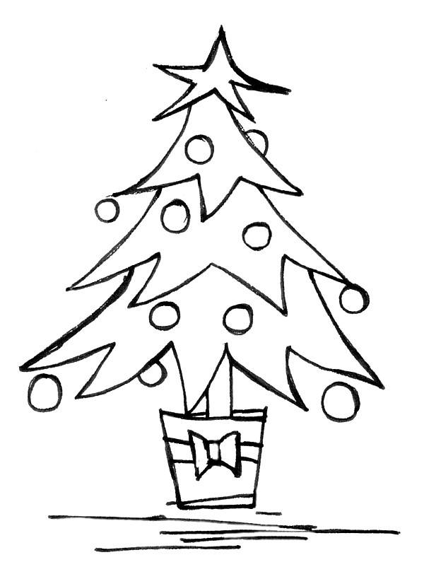 Line Art Xmas : Christmas tree drawing clipart best