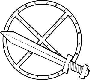Jonadab Round Sword And Shield clip art - vector clip art online ...