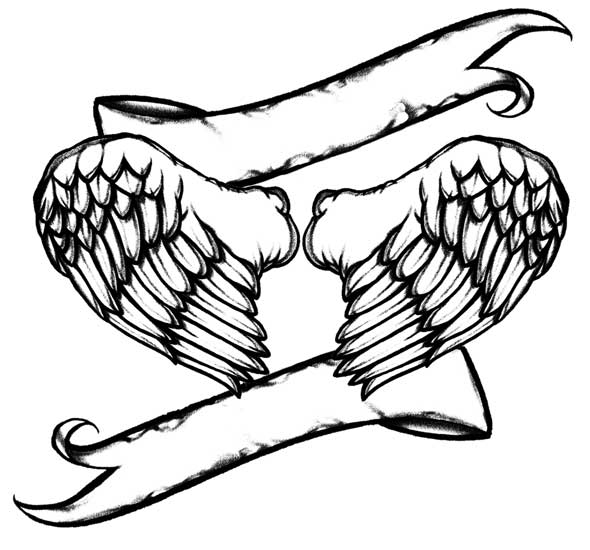 Line Drawing Wings : Line drawings of angels clipart best