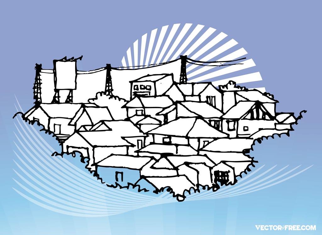 Line Art Village : Houses illustration clipart best